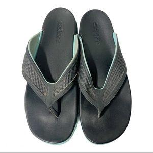 Adidas Black Teal Flip Flop Thong Sandals 9